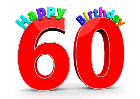 sixtieth: The big red number 60 with Happy Birthday in colorful letters