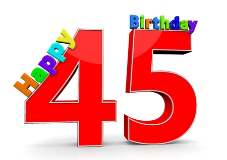 The big red number 45 with Happy Birthday in colorful letters photo