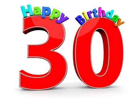 felicitate: The big red number 30 with Happy Birthday in colorful letters