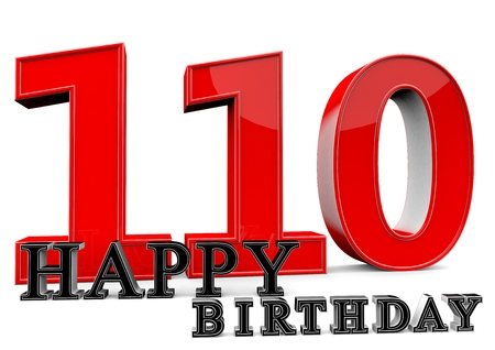 felicitate: Large red 110 with Happy Birthday in front.