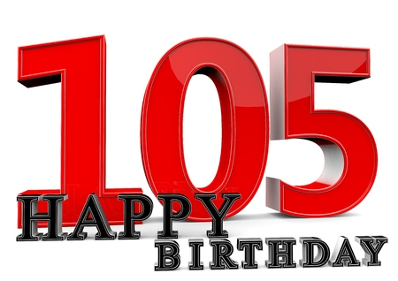 felicitate: Large red 105 with Happy Birthday in front. Stock Photo