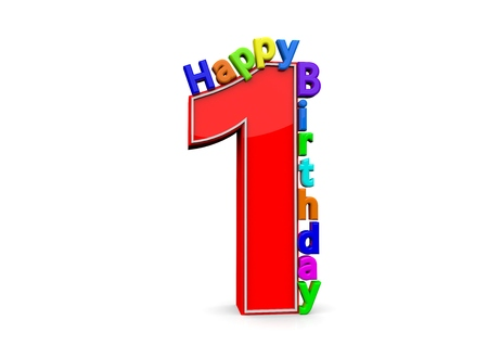 felicitate: The big red number 1 with Happy Birthday in colorful letters