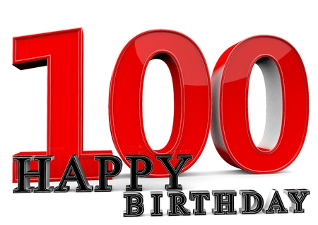 flan: Large red 100 with Happy Birthday in front. Stock Photo