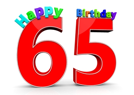 65 years old: The big red number 65 with Happy Birthday in colorful letters