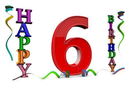 six year old: a big red 6 between colorful happy birthday with streamers Stock Photo