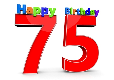 felicitate: The big red number 75 with Happy Birthday in colorful letters