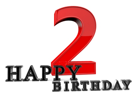 seniority: Large red 2 with Happy Birthday in front. Stock Photo