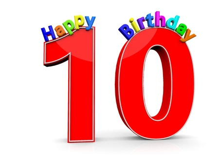 tenth birthday: The big red number 10 with Happy Birthday in colorful letters