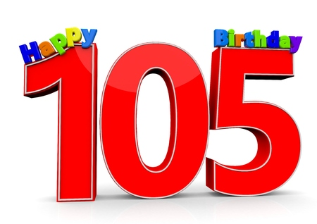felicitate: The big red number 105 with Happy Birthday in colorful letters Stock Photo