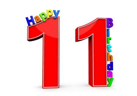eleventh birthday: The big red number 11 with Happy Birthday in colorful letters