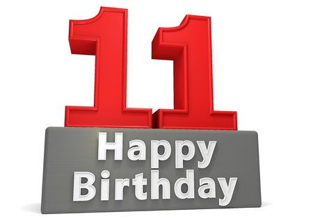 eleventh birthday: Big red number on a grey base with inscription Happy Birthday