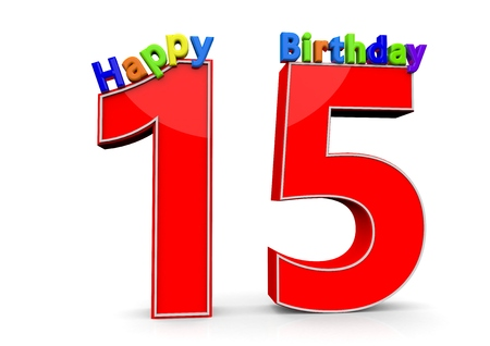 fifteen year old: The big red number 15 with Happy Birthday in colorful letters