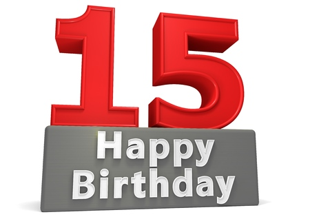 fifteen year old: Big red number on a grey base with inscription Happy Birthday