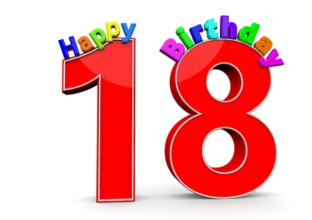 happy birthday 18: The big red number 18 with Happy Birthday in colorful letters