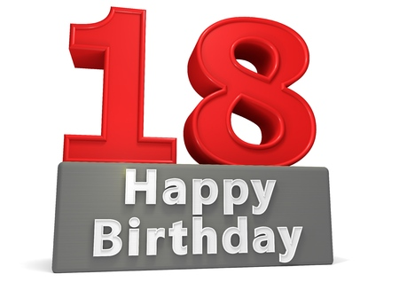 happy birthday 18: Big red number on a grey base with inscription Happy Birthday