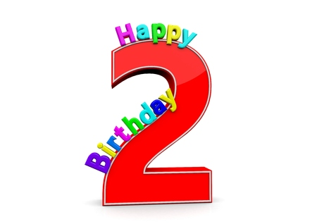 The big red number 2 with Happy Birthday in colorful letters