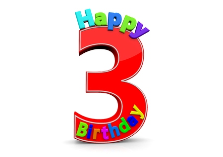third age: The big red number 3 with Happy Birthday in colorful letters