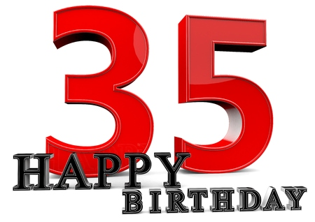 seniority: Large red 35 with Happy Birthday in front.