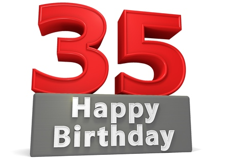 seniority: Big red number on a grey base with inscription Happy Birthday