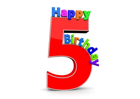 seniority: The big red number 5 with Happy Birthday in colorful letters