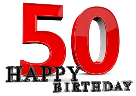 flan: Large red 50 with Happy Birthday in front. Stock Photo