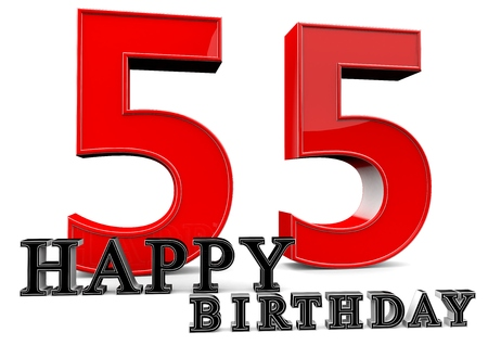 55 years old: Large red 55 with Happy Birthday in front. Stock Photo
