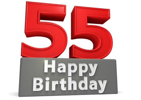 felicitate: Big red number on a grey base with inscription Happy Birthday