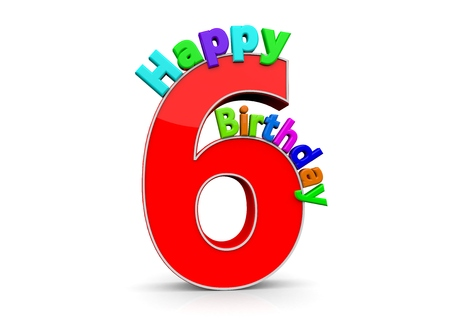 six year old: The big red number 6 with Happy Birthday in colorful letters