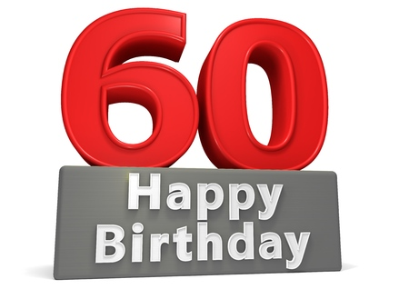 sixtieth: Big red number on a grey base with inscription Happy Birthday