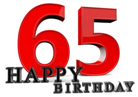 65 years old: Large red 65 with Happy Birthday in front. Stock Photo