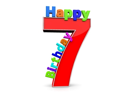 seventh: The big red number 7 with Happy Birthday in colorful letters