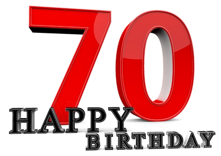 Large red 70 with Happy Birthday in front. photo