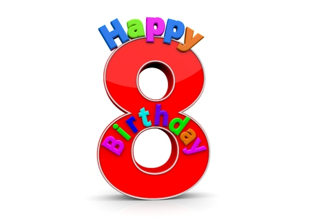 eight year old: The big red number 8 with Happy Birthday in colorful letters