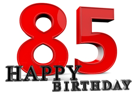 felicitate: Large red 85 with Happy Birthday in front.