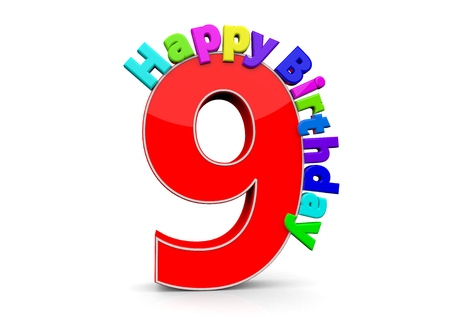 ninth birthday: The big red number 9 with Happy Birthday in colorful letters