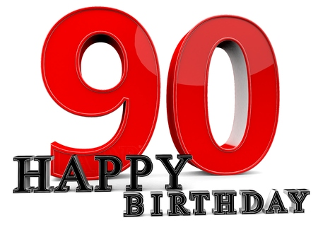 felicitate: Large red 90 with Happy Birthday in front.