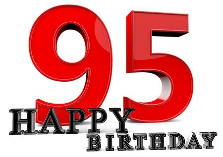 95: Grande rosso 95 con Happy Birthday davanti.