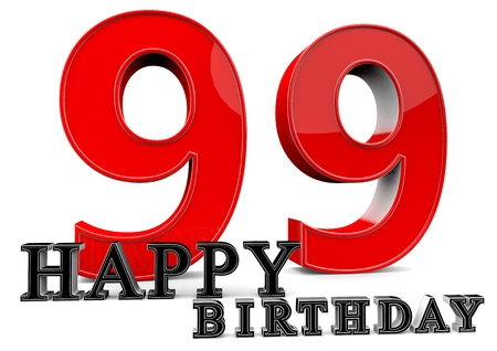 99: Large red 99 with Happy Birthday in front.