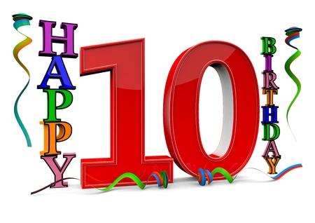serpentinas: un rojo grande 10 entre feliz cumpleaños con serpentinas de colores Foto de archivo