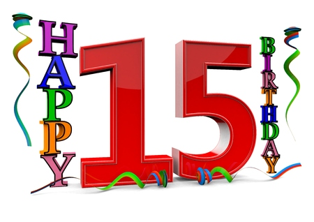 fifteen year old: a big red 15 between colorful happy birthday with streamers Stock Photo