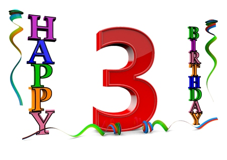 third age: a big red 3 between colorful happy birthday with streamers