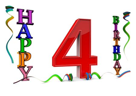 flan: a big red 4 between colorful happy birthday with streamers Stock Photo