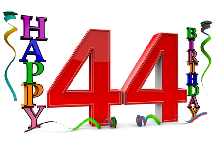 flan: a big red 44 between colorful happy birthday with streamers Stock Photo