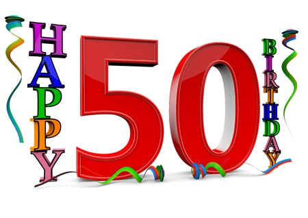 the fiftieth: a big red 50 between colorful happy birthday with streamers