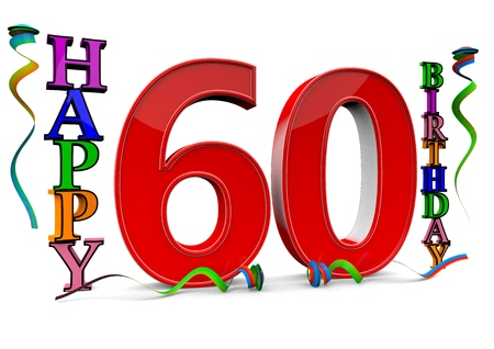 sixtieth: a big red 60 between colorful happy birthday with streamers