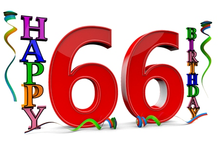 felicitate: a big red 66 between colorful happy birthday with streamers