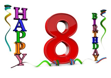 serpentinas: un rojo grande 8 entre feliz cumpleaños con serpentinas de colores