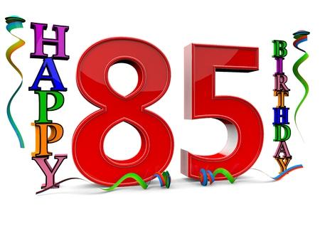 serpentinas: un rojo grande 85 entre feliz cumpleaños con serpentinas de colores
