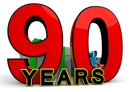 felicitate: A large red number behind the word YEARS with presents
