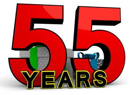 55 years old: A large red number behind the word YEARS with presents